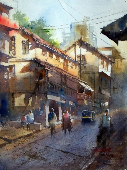 Sanjay Dhawale | Watercolor Painting title Morning at Thane on Handmade Paper