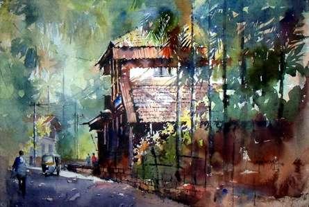 Landscape Watercolor Art Painting title Konkan House by artist Sanjay Dhawale