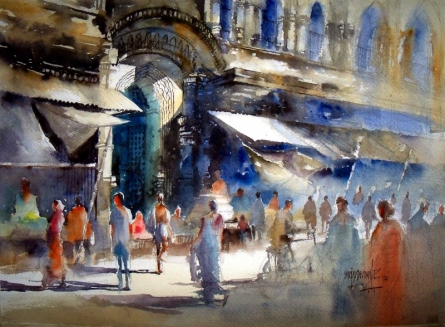 Cityscape Watercolor Art Painting title 'Market at puri' by artist Sanjay Dhawale