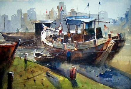 Boat at Retibandar | Painting by artist Sanjay Dhawale | watercolor | Handmade Paper