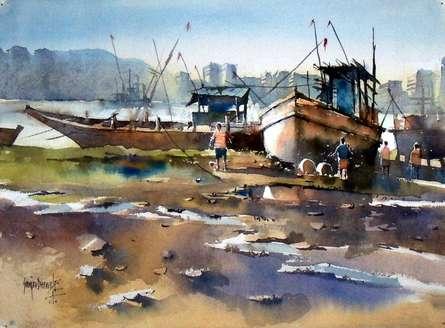Boat at Retibandar | Painting by artist Sanjay Dhawale | watercolor | Handmade Paper