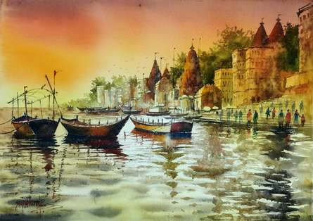 Sanjay Dhawale | Watercolor Painting title Beautiful Banaras Varanasi Evening on Handmade Paper | Artist Sanjay Dhawale Gallery | ArtZolo.com