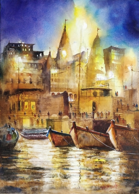 Sanjay Dhawale | Watercolor Painting title Banars Beauty on Handmade Paper | Artist Sanjay Dhawale Gallery | ArtZolo.com
