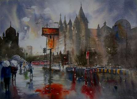 Cityscape Watercolor Art Painting title 'Dream City in Rain' by artist Sanjay Dhawale