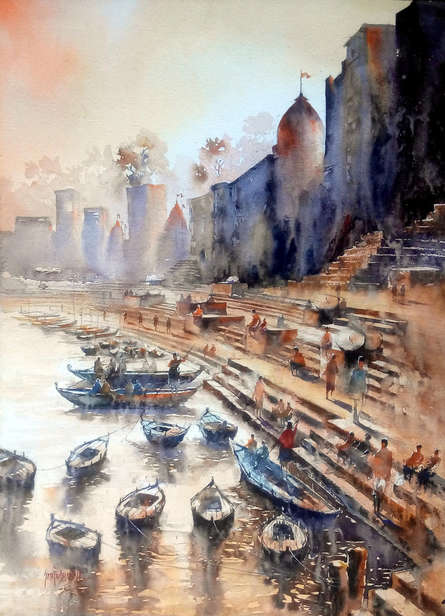 Cityscape Watercolor Art Painting title 'Banaras Ghat' by artist Sanjay Dhawale