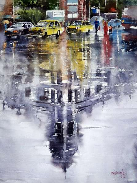 Sanjay Dhawale | Watercolor Painting title Reflection on Paper | Artist Sanjay Dhawale Gallery | ArtZolo.com