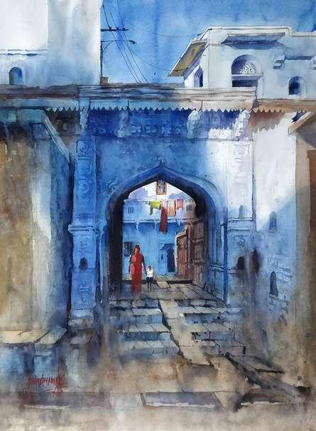 Jodhpur | Painting by artist Sanjay Dhawale | watercolor | Handmade Paper