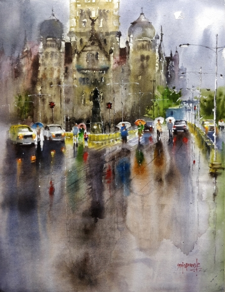Sanjay Dhawale | Watercolor Painting title Mumbai In Rain on paper | Artist Sanjay Dhawale Gallery | ArtZolo.com