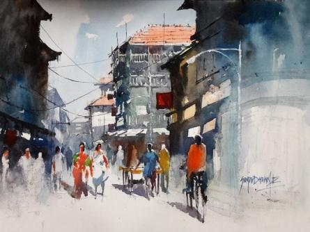 Sanjay Dhawale | Watercolor Painting title Mumbai Stret on Handmade Paper | Artist Sanjay Dhawale Gallery | ArtZolo.com