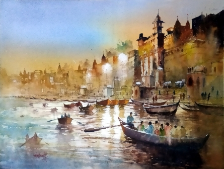 Sanjay Dhawale | Watercolor Painting title Night At Banaras on Handmade Paper | Artist Sanjay Dhawale Gallery | ArtZolo.com
