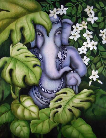 Religious Airbrush Art Painting title 'Ganesha in Nature I' by artist Vishwajyoti Mohrhoff