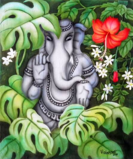 Religious Airbrush Art Painting title 'Ganesha in Nature II' by artist Vishwajyoti Mohrhoff