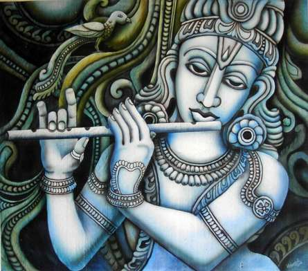 Krishna I | Painting by artist Vishwajyoti Mohrhoff | airbrush | Canvas
