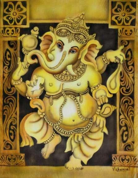 Dancing Ganesh Yellow | Painting by artist Vishwajyoti Mohrhoff | airbrush | Canvas