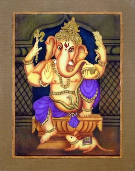 Purple Ganesha | Painting by artist Vishwajyoti Mohrhoff | airbrush | Canvas
