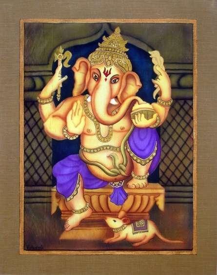 Purple Ganesha   Painting by artist Vishwajyoti Mohrhoff   airbrush   Canvas