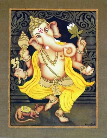 Yellow Ganesha | Painting by artist Vishwajyoti Mohrhoff | airbrush | Canvas
