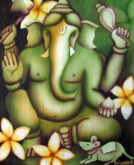 Religious Airbrush Art Painting title 'Green Ganesha' by artist Vishwajyoti Mohrhoff