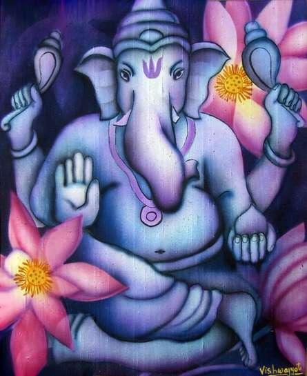 Religious Airbrush Art Painting title 'Blue Ganesha II' by artist Vishwajyoti Mohrhoff