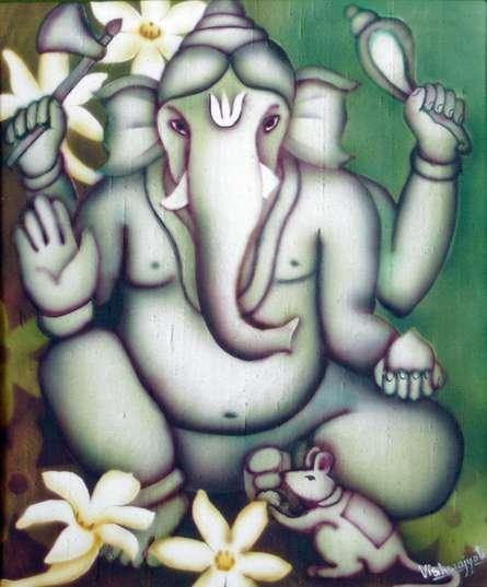 Religious Airbrush Art Painting title 'Green Ganesha II' by artist Vishwajyoti Mohrhoff