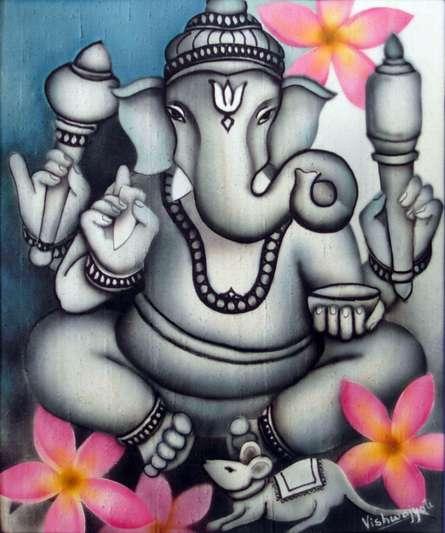 Grey Ganesha | Painting by artist Vishwajyoti Mohrhoff | airbrush | Canvas
