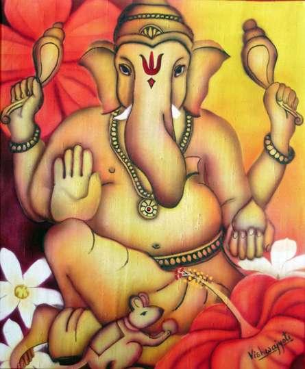 Religious Airbrush Art Painting title Power Ganesha by artist Vishwajyoti Mohrhoff