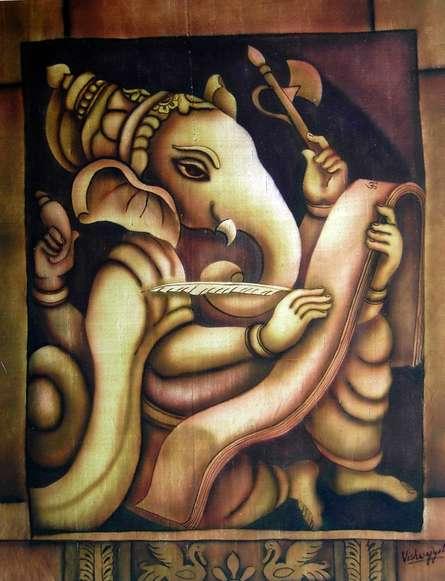 Writing Ganesha I | Painting by artist Vishwajyoti Mohrhoff | airbrush | Canvas