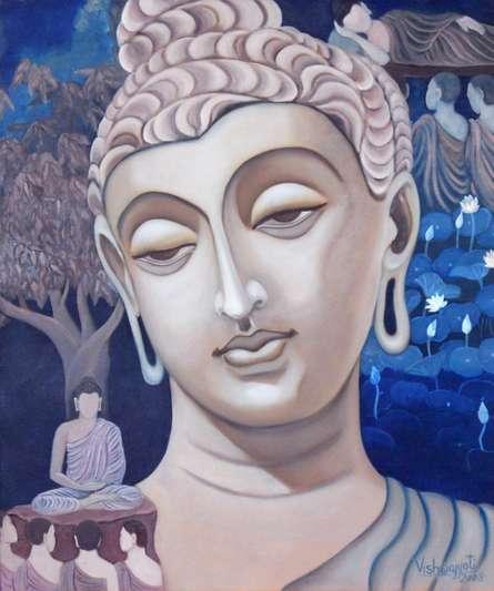 Vishwajyoti Mohrhoff | Oil Painting title Gandhar Buddha on Canvas | Artist Vishwajyoti Mohrhoff Gallery | ArtZolo.com