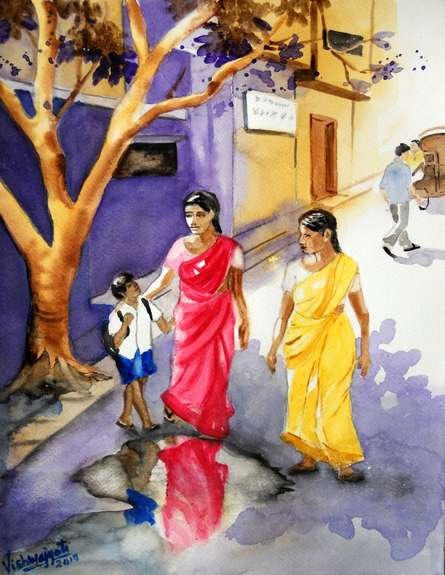 Figurative Watercolor Art Painting title Mind Your Step My Son by artist Vishwajyoti Mohrhoff
