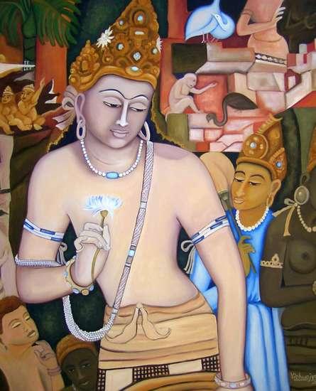 Vishwajyoti Mohrhoff | Oil Painting title Padmapani Ode To Ajanta on Canvas | Artist Vishwajyoti Mohrhoff Gallery | ArtZolo.com
