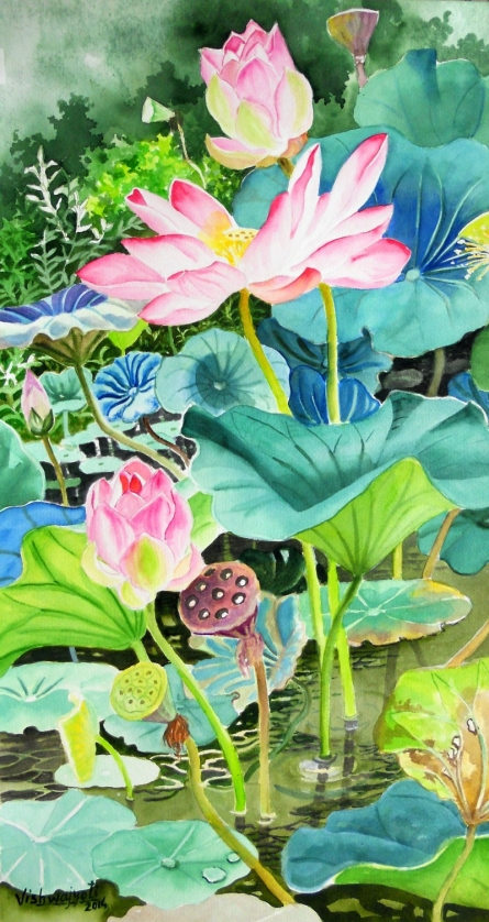 Photorealistic Watercolor Art Painting title 'Pink Lotus Long' by artist Vishwajyoti Mohrhoff