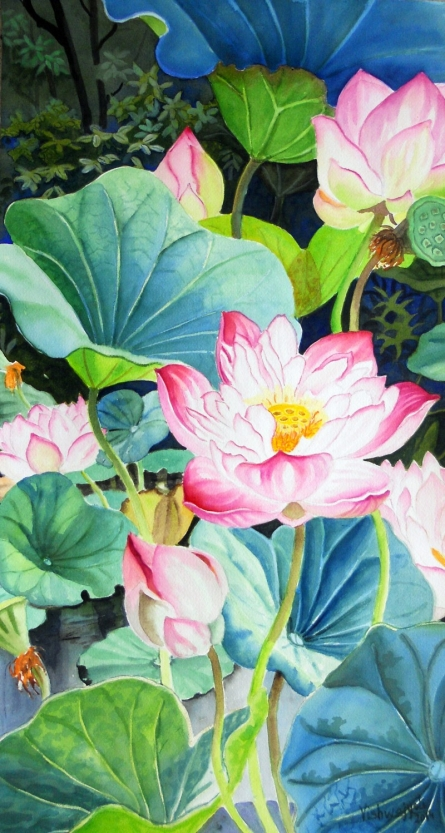 Photorealistic Watercolor Art Painting title 'Pink Sahasradal Long' by artist Vishwajyoti Mohrhoff