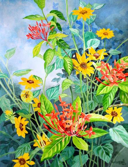 Photorealistic Watercolor Art Painting title 'Small Sunflowers And Ixora coccinea' by artist Vishwajyoti Mohrhoff