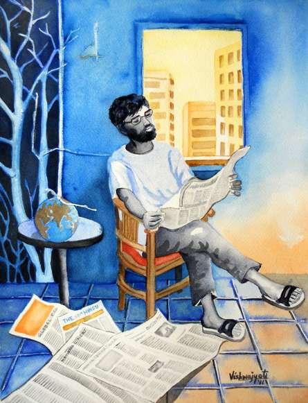The Falling Globe | Painting by artist Vishwajyoti Mohrhoff | watercolor | Paper