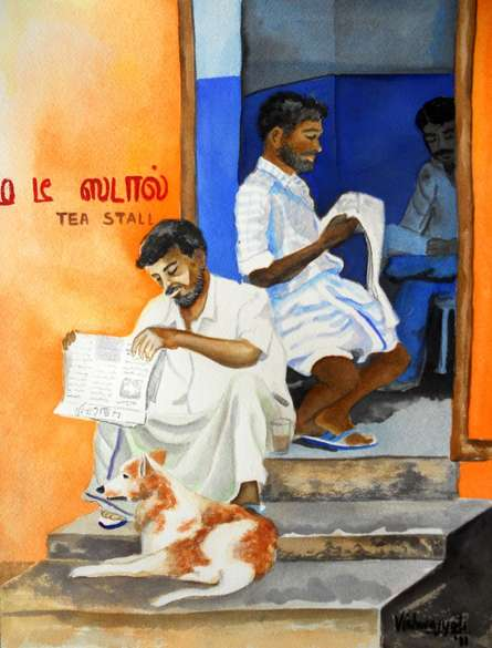 Vishwajyoti Mohrhoff | Watercolor Painting title The Readers Club on Paper | Artist Vishwajyoti Mohrhoff Gallery | ArtZolo.com