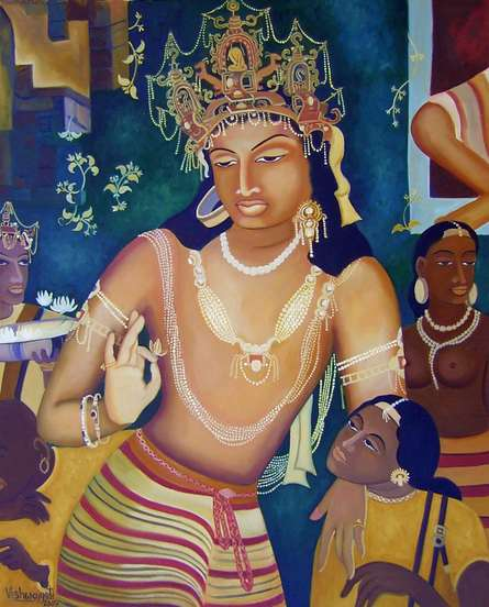 Religious Oil Art Painting title Vajrapani Ode To Ajanta by artist Vishwajyoti Mohrhoff
