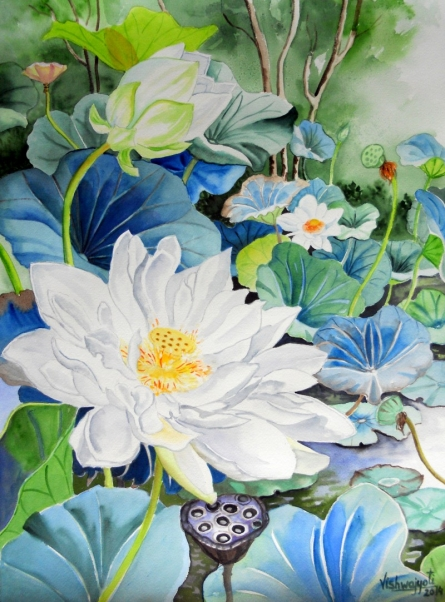Photorealistic Watercolor Art Painting title 'White Sahastradal' by artist Vishwajyoti Mohrhoff