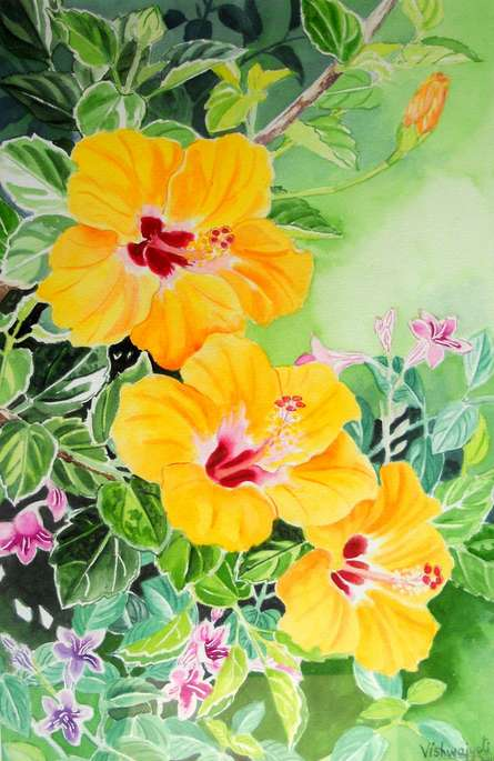 Photorealistic Watercolor Art Painting title Yellow Hibiscus And Asystasia Intrusa B by artist Vishwajyoti Mohrhoff