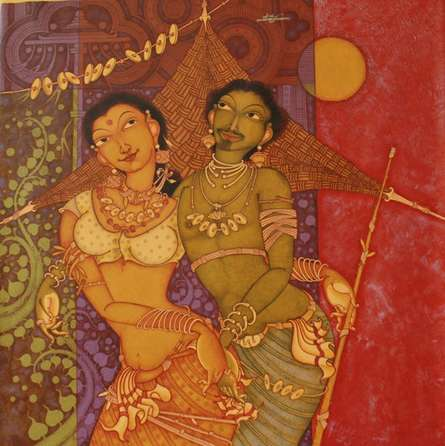 Figurative Acrylic Art Painting title Tribal Couple by artist Manikandan Punnakkal