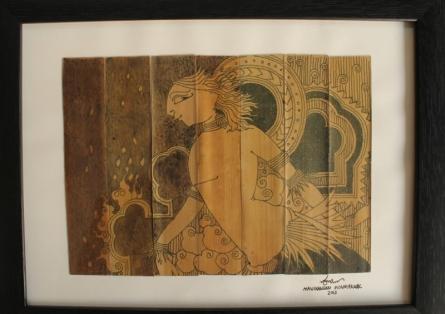 Ink Paintings | Drawing title 107 on Leaf | Artist Manikandan Punnakkal