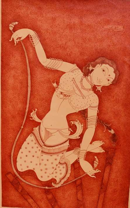 Lady With Swing | Painting by artist Manikandan Punnakkal | acrylic | Canvas