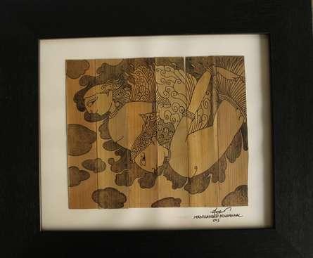 Ashwini Devatas | Drawing by artist Manikandan Punnakkal | | ink | Leaf