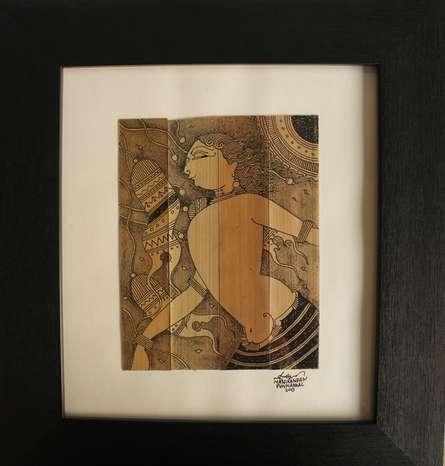Ink Paintings | Drawing title Kodikoora on Leaf | Artist Manikandan Punnakkal