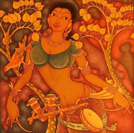 Folk Lady | Painting by artist Manikandan Punnakkal | acrylic | Canvas
