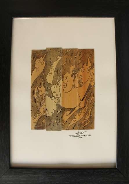 Ink Paintings | Drawing title Vayu Devan on Leaf | Artist Manikandan Punnakkal