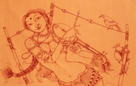 Lady Playing Goshawati | Painting by artist Manikandan Punnakkal | acrylic | Canvas