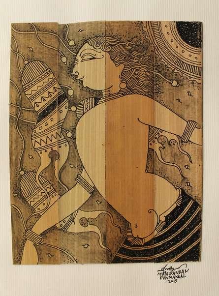 Figurative Ink Art Drawing title 'Palm Leaf Art II' by artist Manikandan Punnakkal