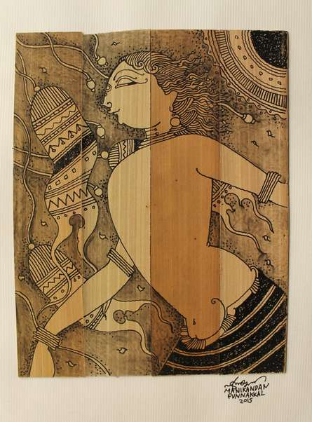 Palm Leaf Art II | Drawing by artist Manikandan Punnakkal |  | ink | Leaf