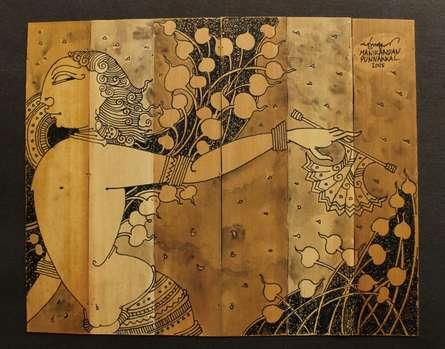 Palm Leaf Art III | Drawing by artist Manikandan Punnakkal |  | ink | Leaf
