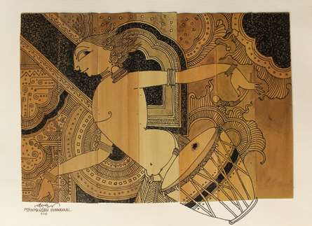 Figurative Ink Art Drawing title 'Palm Leaf Art IV' by artist Manikandan Punnakkal